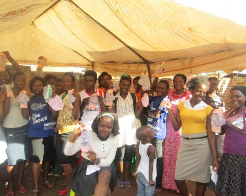 Adolescent Girls with their own made Re-usable sanitary pads